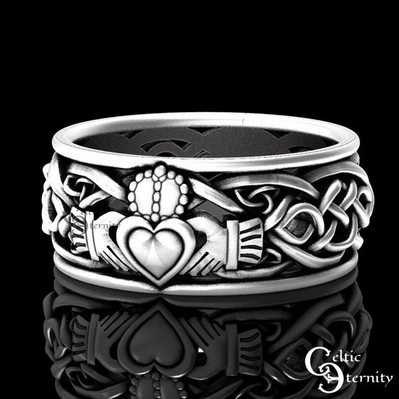 Mens Sterling Silver Claddagh Ring, Modern Claddagh Wedding Ring, Celtic Trinity Knot Silver Heart Ring, Irish Love Ring, Claddagh, 1096