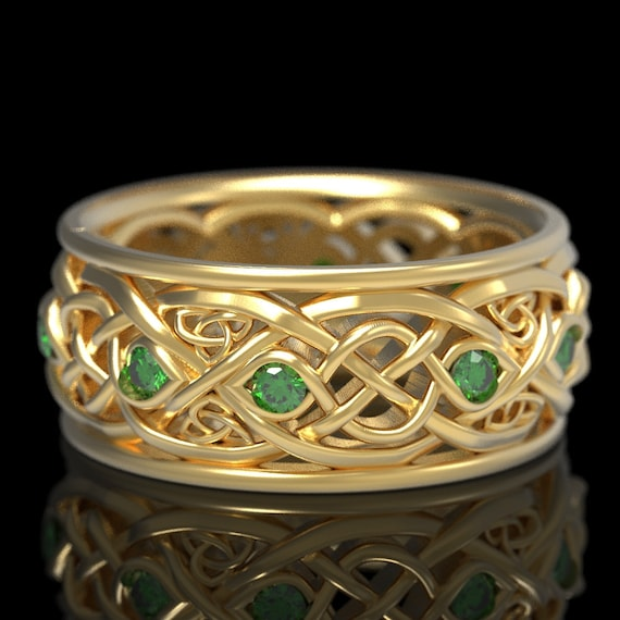 Infinity Wedding Band With Emeralds, Gold Celtic Ring, Unique Wedding Ring, Celtic Wedding Band, Made 10K 14K 18K Gold or Platinum 1096