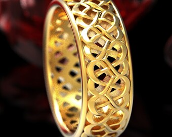 Gold Celtic Wedding Ring With Heart Knotwork Design in 10K 14K 18K Gold or Platinum, Made in Your Size Cr-1335