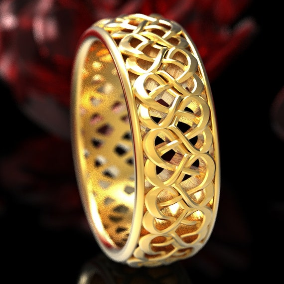 Gold Celtic Wedding Ring With Heart Knotwork Design in 10K 14K 18K Gold or Platinum, Made in Your Size Cr-1135