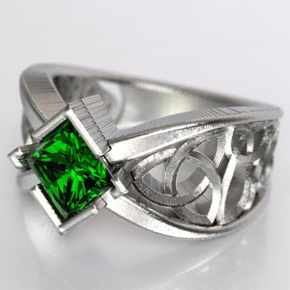 Celtic Wedding Ring With Square Princess Cut Emerald  Trinity Knotwork Design Sterling, 10K 14K 18K or Platinum Made in Your Size CR-1025