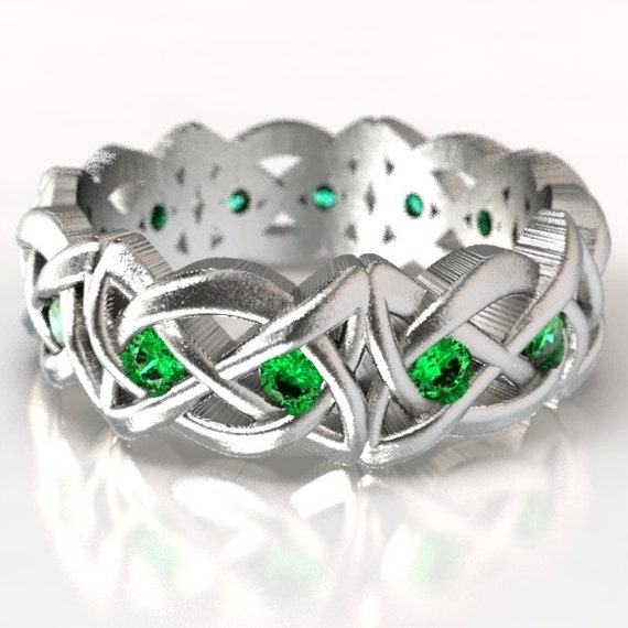 Celtic Cut-Through Dara Style Knot with Emeralds Made in Sterling Silver, 10K 14K 18K Gold or Platinum Made in Your Size CR-1064