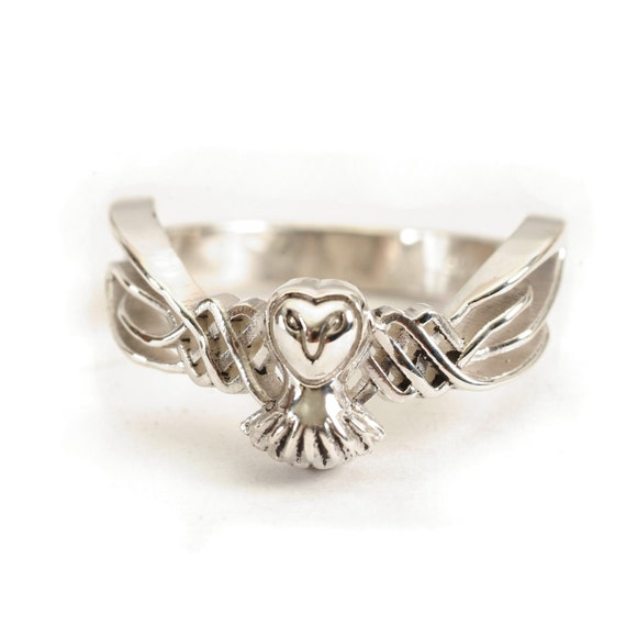 Celtic Owl Ring, 14k Gold Ring, Alternative Wedding Ring, Celtic Owl Jewelry, Personalized Ring Size, Owl Lover Gift, Unique Gifts CR-1011