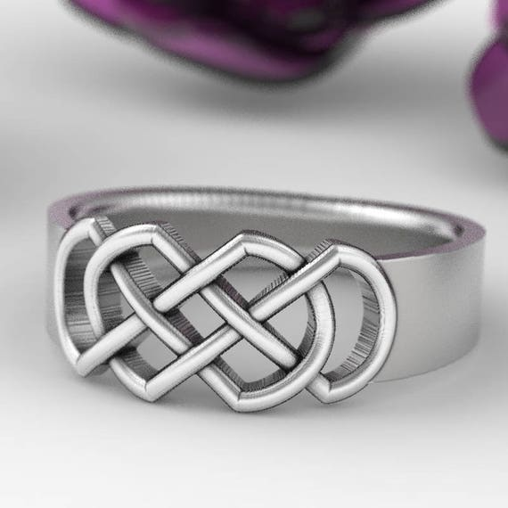 Celtic Wedding Ring With Infinity Knot Design in Sterling Silver 10K, 14K, 18K Gold, Palladium, or Platinum Made in Your Size CR-770