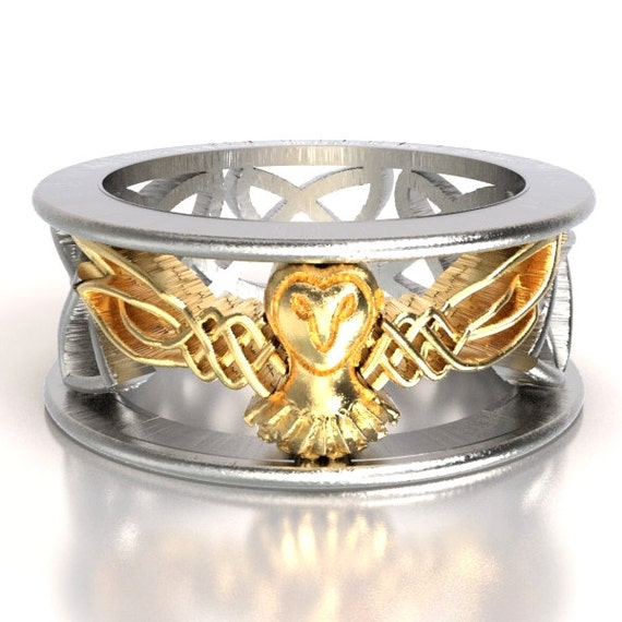 Celtic Two Tone Owl Wedding Band, Celtic Gold Ring, Unique Silver Wedding Ring, Barn Owl, 10K 14K 18K Gold, Owl In Flight Ring 1016