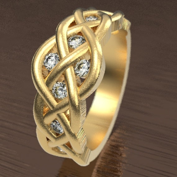 Celtic Moissanite Diamond Wedding Ring With Woven Knotwork Design in 10K 14K 18K Gold or Platinum Made in Your Size CR-764