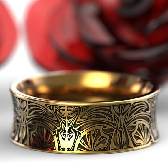 Gold Norse Wedding Ring With Stylized Design in 10K 14K 18K or Platinum, Made in Your Size Cr-5086