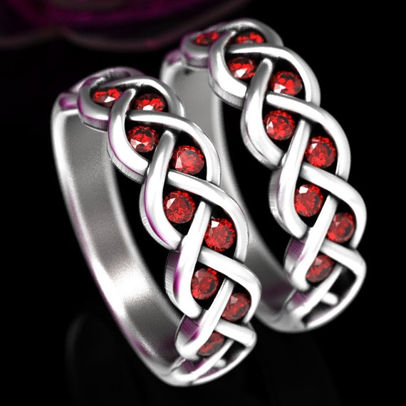 Celtic Wedding Ring Set Ruby Stone With Braided Knot Design in Sterling, 10K 14K 18K Gold or Platinum Made in Your Size CR-1005