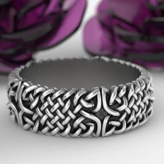 Celtic Wedding Ring With Celtic Knots in Sterling Silver, Made in Your Size CR-1103