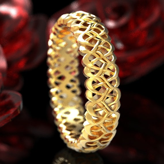 Celtic Love Knot Ring, Gold Celtic Wedding Ring With Heart Weave, Celtic Heart Ring in 10K 14K 18K Gold or Platinum, Made in Your Size 1134
