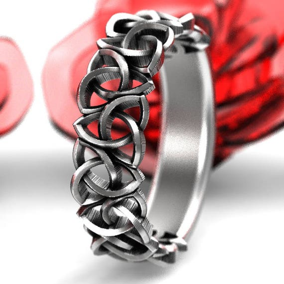 Celtic Wedding Ring With Woven Trinity Knot Design in Sterling Silver, Made in Your Size CR-191