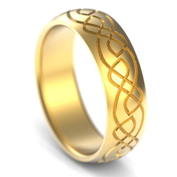 Celtic Wedding Ring With Engraved Woven Knotwork Design in 10K 14K 18K Gold, Palladium or Platinum Made in Your Size CR-730