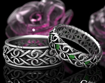 His Her Celtic Wedding Ring with Emerald, Heart Wedding Band Set, Infinity Symbol Ring, Modern Ring, Emerald Wedding Bands, 1421 + 1422