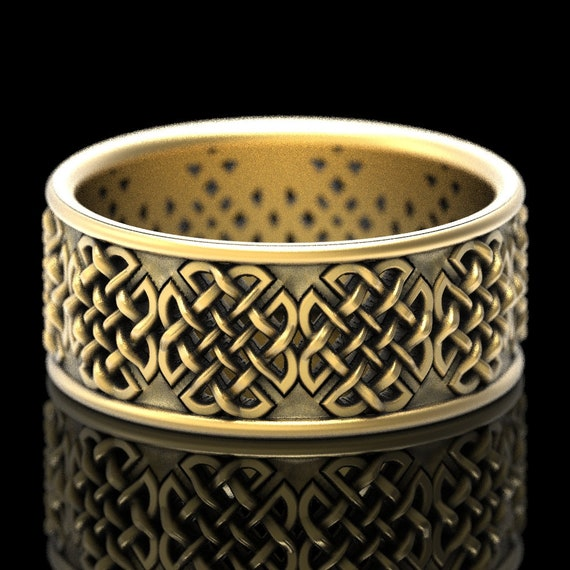 Gold Celtic Wedding Ring With Quaternary Knot-work Design in 10K 14K 18K or Platinum, Made in Your Size Cr-1047