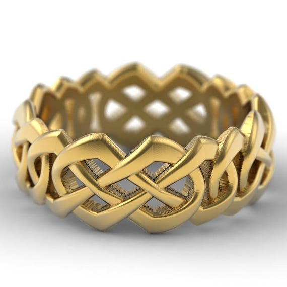 Gold Celtic Cut-Through Quaternary Knot Design in 10K 14K 18K or Palladium, Made in Your Size Cr-1065