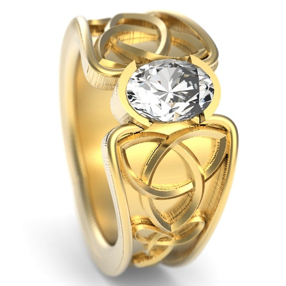 Celtic White Sapphire Ring With Trinity Knot Band Ring Design in Sterling, 10K 14K 18K Gold or Platinum, Made in Your Size CR-17d