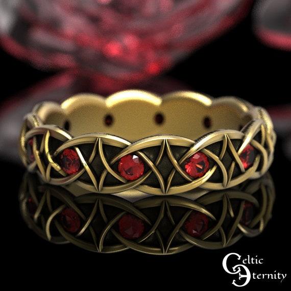 Ruby & Gold Celtic Wedding Band, Unique Wedding Ring, 10K 14K 18K Gold Platinum Band, Modern Gold Ring, Gold Infinity Knotwork Band 1036