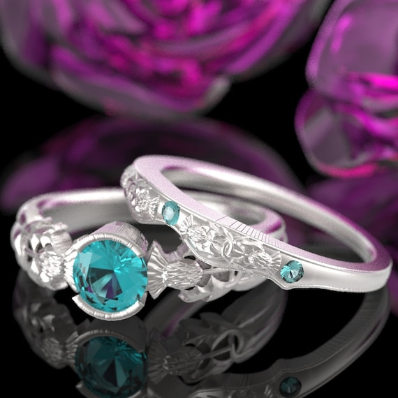 Thistle Engagement Ring Set, Sterling Silver Aquamarine Ring, Scottish Solitare, Handcrafted Rings, Alternative Engagement Ring 5062