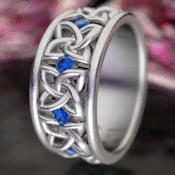Celtic Wedding Ring in Custom Ring Size with Blue Sapphire Stones in 4 Petal Flower Dara Knot Design, Handmade in Sterling Silver  CR-1010