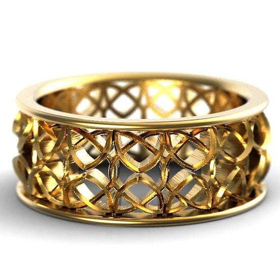 Celtic Wedding Ring With Encircled Dara Knotwork Encased in Rails Design in 10K 14K 18K Gold, Palladium or Platinum Made in Your Size CR-649