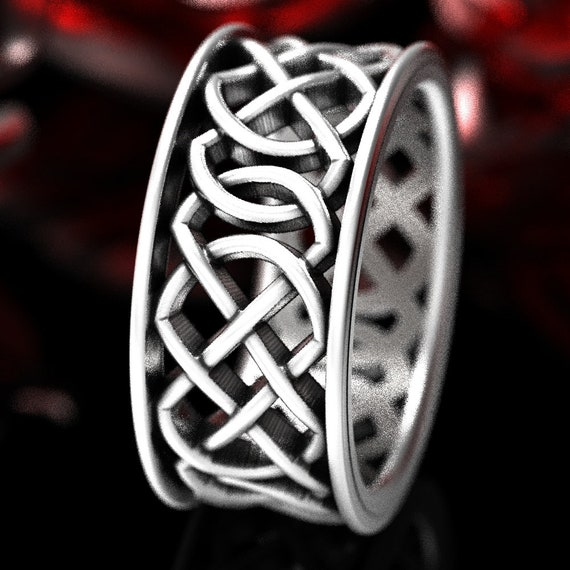 Mens Wedding Band, Celtic Knot Ring, Wide Ring, Infinity Knot Ring Made in Sterling, 10K 14K 18K Gold or Platinum Made in Your Size CR-268