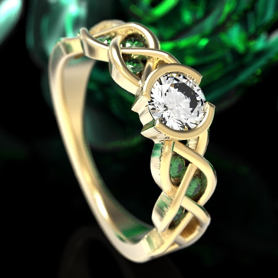 Celtic Emerald and Moissanite Engagement Ring with Braided Knotwork Design Made in 10K 14K 18K Gold or Platinum, Made in Your Size Cr-1006