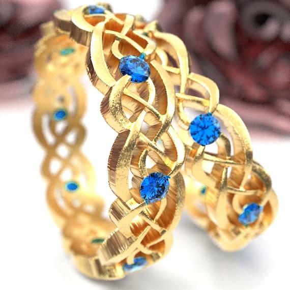Gold Celtic Wedding Ring Set With Sapphires, Infinity Band, Eternity Diamond Ring in 10K 14K 18K Palladium or Platinum, Custom Size 1044