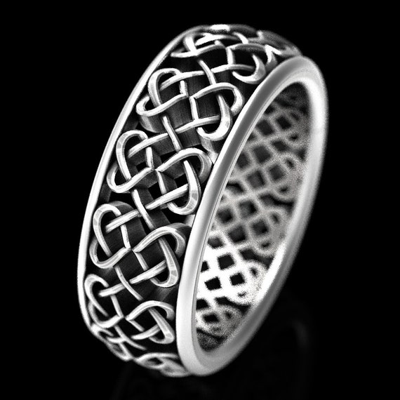 Celtic Wedding Ring With Celtic Heart Interlaced Knotwork Design in Sterling Silver, Made in Your Size CR-645