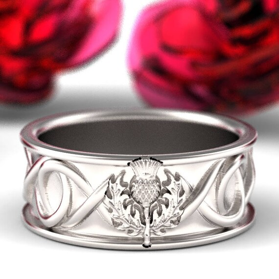 Celtic Scottish Thistle Ring Mens Wedding Ring, Infinity Ring, Scottish Thistle Jewelry, Scottish Wedding Band, Custom Made Ring CR-5129