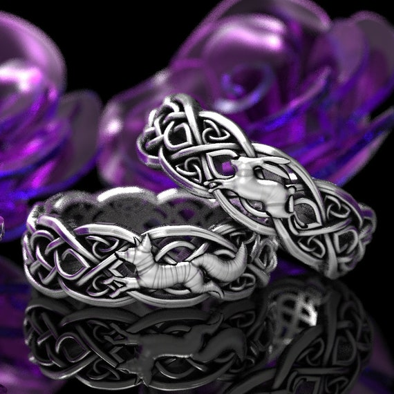 RESERVED FOR Kim 2 Ring Set, 2 Payments for Set of Two Rings Sterling Silver Celtic Fox & Rabbit Ring Set, Custom 1052