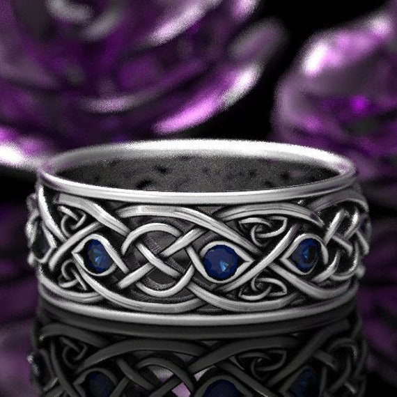 Infinity Wedding Band With Sapphires, 925 Sterling Silver Celtic Ring, Unique Wedding Ring, Celtic Wedding Band, Handcrafted Size CR1096