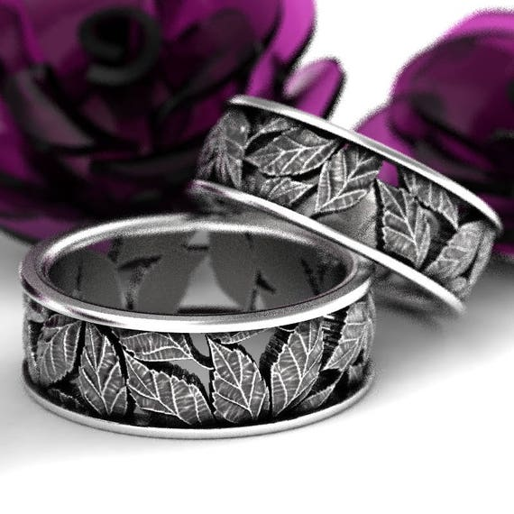 Leaf Ring Wedding Ring Set Custom Made With Cherry Tree Leaves in Sterling Silver, Made in Your Size 5103