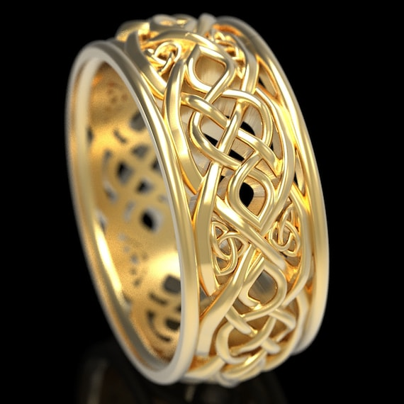 Gold Celtic Wedding Ring With Cut-Through Infinity Symbol Pattern & Trinity Knots in 10K 14K 18K or Platinum, Made in Your Size 1096
