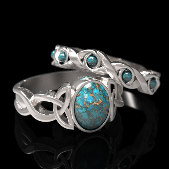 RESERVED FOR Rodney, Custom Turquoise Engagement Ring Set in 14K White Gold, Gold Celtic Knot Matching Ring Set, Ring in Your Size CR-1131
