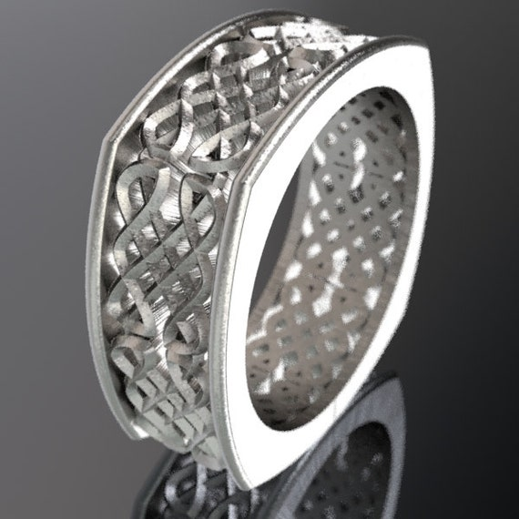 Celtic Wedding Ring, Mens Wedding Band, Dara Knotwork Design in Sterling Silver, Made in Your Size CR-450