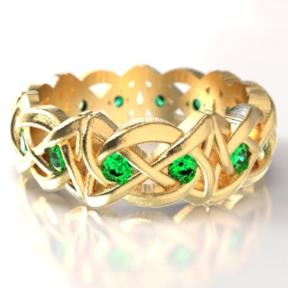 Gold Celtic Cut-Through Dara Style Knot Design with Emeralds in 10K 14K 18K or Palladium, Made in Your Size Cr-1064