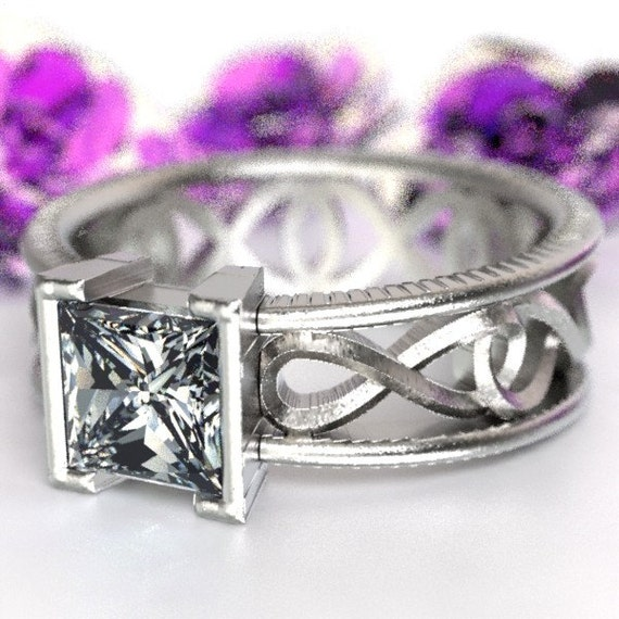 Celtic Moissanite Princess Cut With Infinity Symbol Design in Sterling Silver, 10K 14K 18K, Palladium, or Platinum Made in Your Size CR-1028