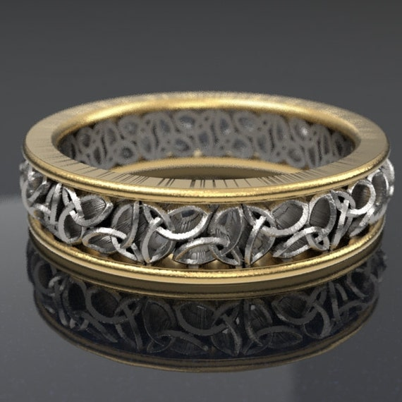 Celtic 2-Tone Gold Wedding Ring With Cut-Through Trinity Knot Design in 10K 14K 18K Gold Palladium Platium, Made in Your Size CR-617