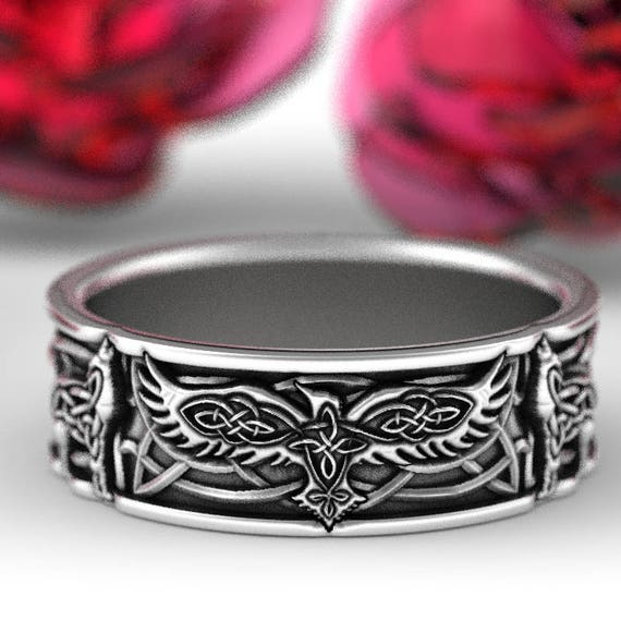 Sterling Silver Celtic Raven & Wolf Ring, Raven Wedding Band, Mens Wedding Band, Raven Jewelry, Custom Size 1161
