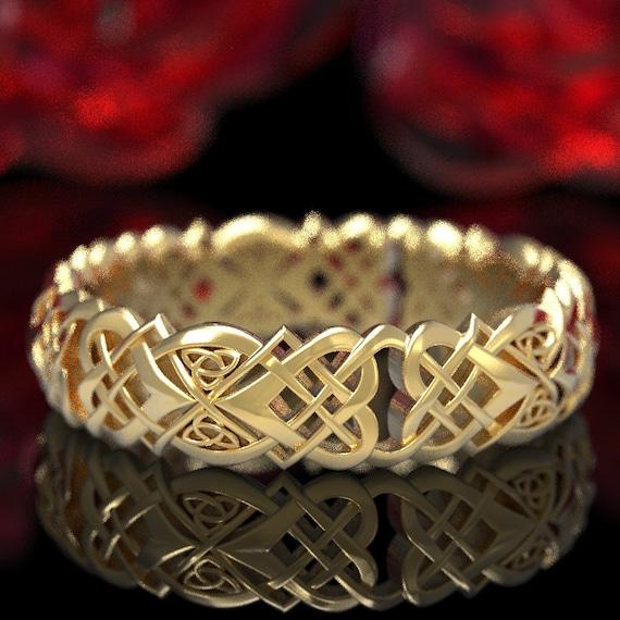 Gold Celtic Knot Wedding Ring, Women's Heart Knot Infinity Ring, Woven Celtic Love Knot Ring, Gold Celtic Trinity Knot Infinity Ring 1360