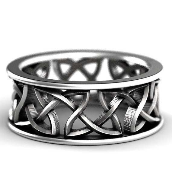 Custom Wedding Ring With Celtic Cut-Through Woven Knotwork Design in Sterling Silver, Made in Your Size CR-26
