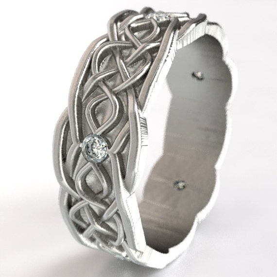 Celtic Wedding Ring With Infinity Symbol Pattern With Moissanite Stones in Sterling Silver, Made in Your Size CR-1050