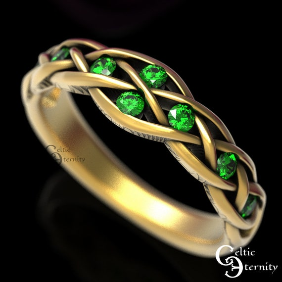 Gold Celtic Wedding Ring with Emeralds, Gold Wedding Ring, 10K 14K 18K or Platinum, Woman Wedding Band, Elf Ring, Infinity Wedding Ring, 764