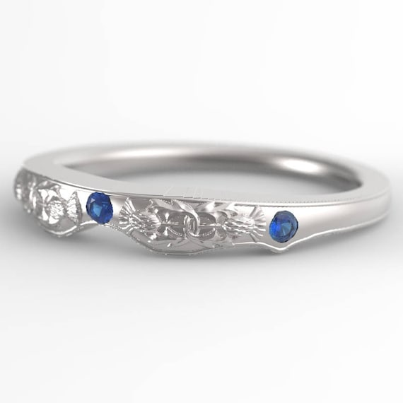 Matching Thistle Ring, Sterling Silver & Sapphire, Scottish Matching Ring, Floral Wedding, Handcrafted Rings, Thistle Engagement Band 5062M