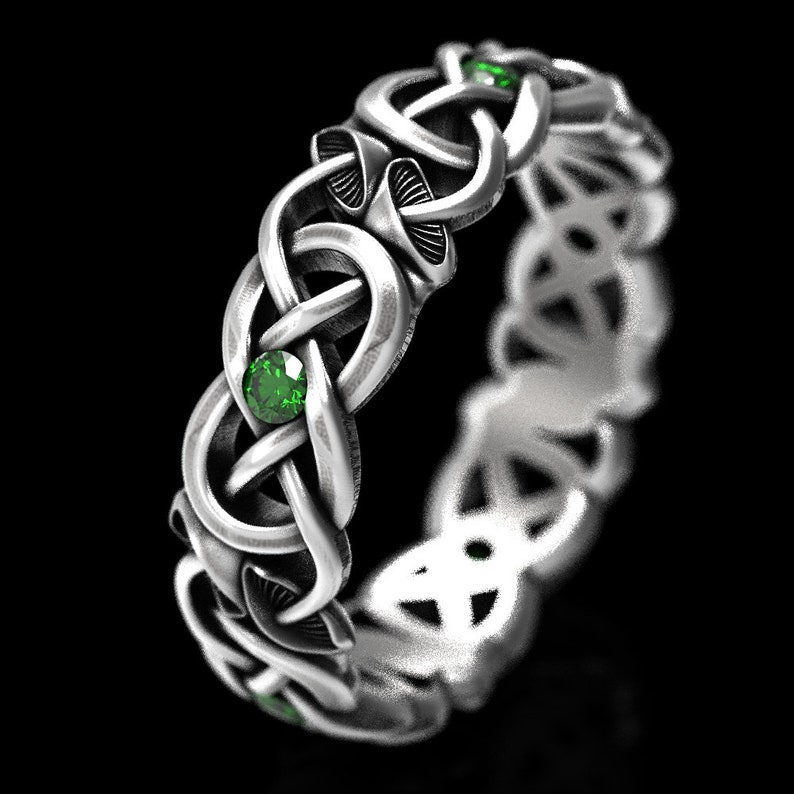 Plant Ring 1371 Eternity Wedding Band Nature Ring Psychedelic Ring Mushroom Ring Mushroom Infinity Ring Sterling Silver with Emeralds