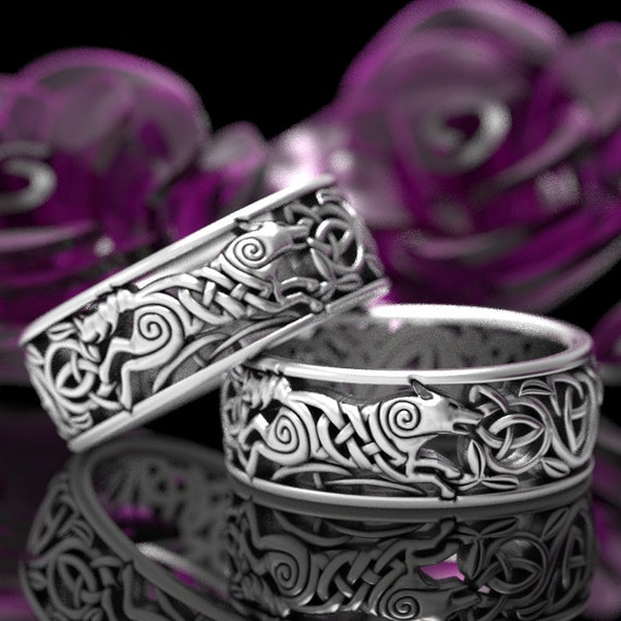 Wolf Knot Celtic Wedding Ring Set, Celtic Wolf Ring Set, Wolf Wedding Band Set, Norse Wolf Ring, Viking Wolf Ring, Sterling Silver Ring 1298