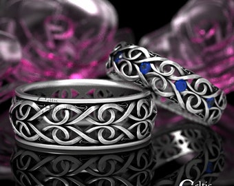 His Her Celtic Wedding Ring with Sapphires, Heart Wedding Band Set, Infinity Symbol Ring, Modern Ring, Sapphire Wedding Bands, 1421 + 1422