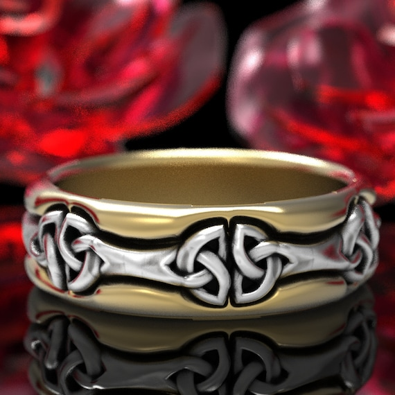 2-Tone Celtic Knot Ring, Unique Wedding Band, Bi-Metal Ring in Sterling, 10K 14K 18K Gold or Platinum Made in Your Size 1278