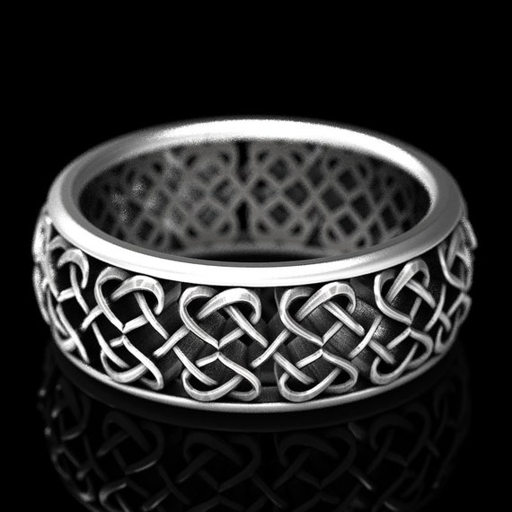 Celtic Heart Wedding Ring With Infinity Celtic Knotwork Design in Sterling Silver Made in Your Size 1245