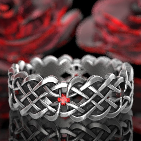 Celtic Wedding Ring Dara Knot Design With Ruby Stones in Sterling Silver, 10K 14K 18K Gold, Palladium, or Platinum Made in Your Size CR-1043